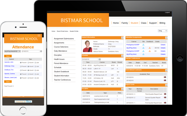 Online teacher, student, parent portals with gradebook, report cards, scheduling, attendance